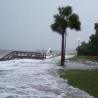 This photo illustrates storm surge from Tropical Storm Faye along the Georgia coast.