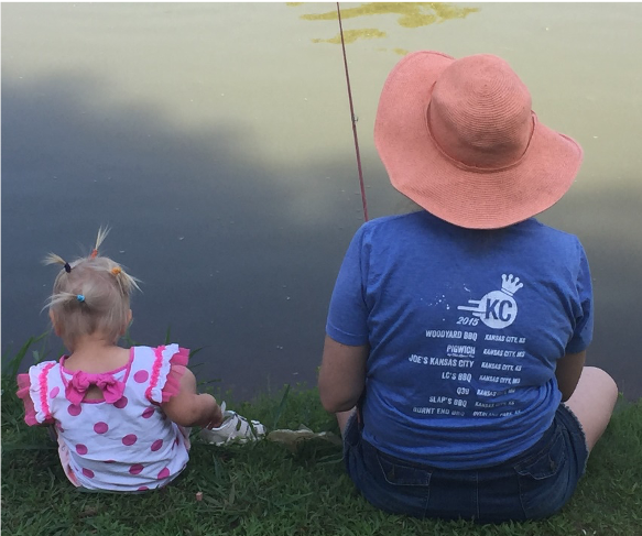 Mom fishing with daughter