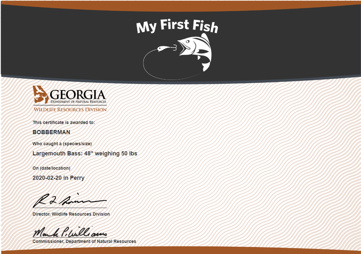 My First Fish Certificate
