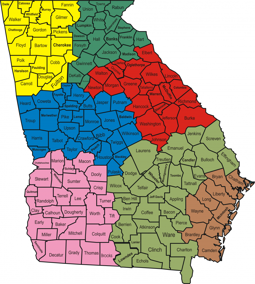Map of the Seven Law Enforcement Regions