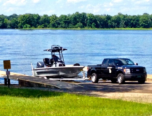 Image of Ranger patrol truck with Ranger boat on boat ramp