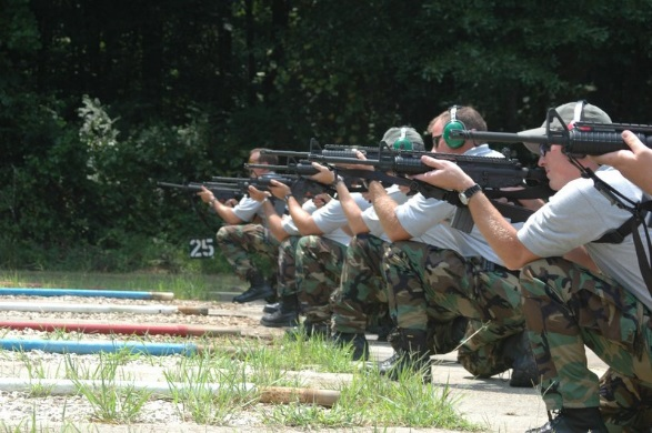 Image of Law Enforcement candidates on a rifle range