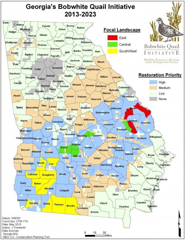 Bobwhite Quail Wildlife Resources Division - Map in georgia
