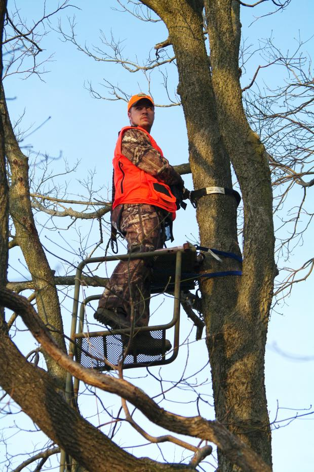 Man standing in tree stand