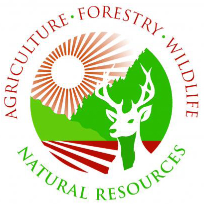 Agroforestry logo, deer with sun in background