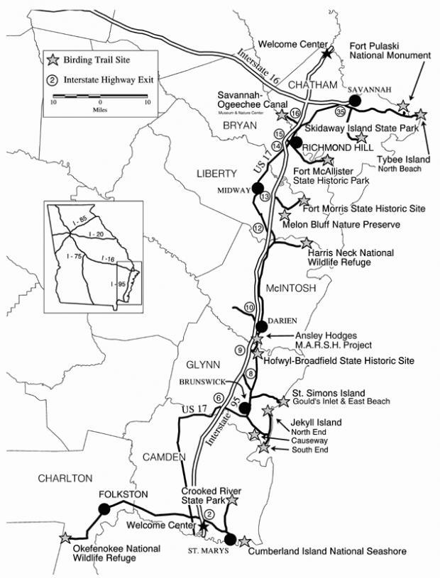 Georgias Colonial Coast Birding Trail Wildlife Resources Division - Georgia map jekyll island