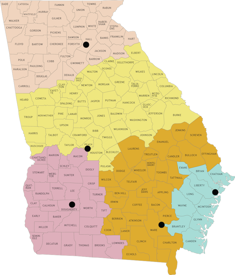 State Of Georgia Map With Counties.Contact Us